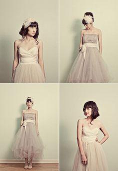 Tulle wedding dresses tea length