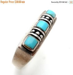 Ring Sale Turquoise Ring Sterling Silver by TheJewelryLadysStore