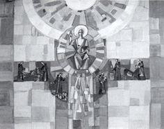 """Curd Lessig (1979) Roth/Rhön Filialkirche, Entwurf zu """"Christus und Antonius"""""""