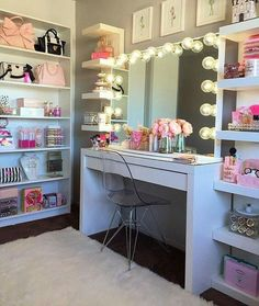 VANITY LIFE **Morning Beauty Room Inspiration** Totally crushin on this vanity! This might be one of my favorites. I like how it's tucked into the corner of the room so it has that cozy effect - Check out her page and show her some love and likes ! Sala Glam, Vanity Room, Mirror Vanity, Vanity Shelves, Vanity Set, Glam Room, Makeup Rooms, Teen Girl Bedrooms, Girls Bedroom Ideas Teenagers
