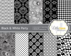 Black and White Digital Paper, Black and White Scrapbook Paper Pack, Instant Download, 8.5 x 11 and 12 x 12