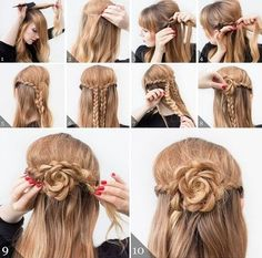 Perfect Hair Solution - Personal Guide For Your Hair Easy Updos For Medium Hair, Medium Hair Styles, Long Hair Styles, Hairstyles Haircuts, Braided Hairstyles, Fashion Hairstyles, Disney Hairstyles, Rose Hairstyle, Belle Hairstyle