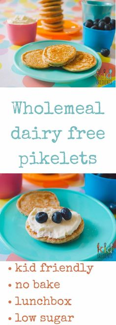 These wholemeal dairy free pikelets are my go to recipe for quick yummy no bake mini pancakes. Low in sugar and perfect topped with yoghurt and berries. @kidgredients