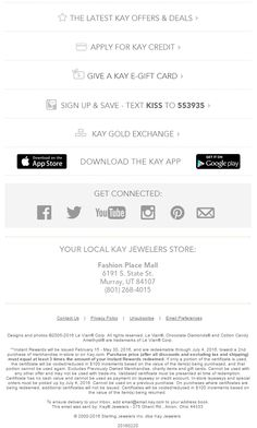 Kay Jewelers email footer 2016 Email Footer, Footer Design, Kay Jewelers, Email Design, How To Apply, Image, Email Newsletter Design