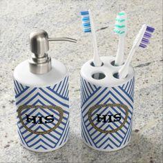 HIS Blue Chevron Soap Dispenser Toothbrush Holder