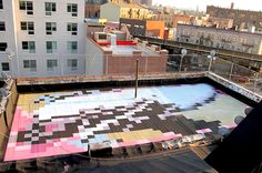 paints-for-google-earth Practice of painting has grown out of the studio in the form of large-scale rooftop paintings for Google Earth. The Molly's Dilwoorth project use materials from the waste stream (discarded house paint) to mark a physical presence in digital space.