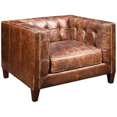 Weathered and tufted on all sides for maximum comfort, this stout chair is a perfect place from which one can sip a nice scotch or enjoy a cigar after a long day.  Read More On VintageAndKind.com