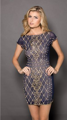 LILLY DRESS IN NAVY WITH GOLD