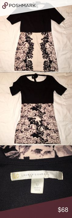 LC Lauren Conrad Dress This dress is a polyester/spandex blend. It is perfect for a holiday party or night out. It features a tie in the back. This is in GUC with very light wear. Dress comes to right above the knee. LC Lauren Conrad Dresses Midi