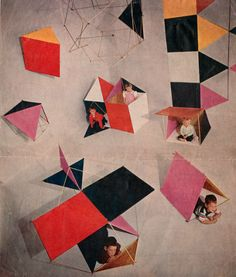 """Charles and Ray Eames completed """"The Toy"""" in 1951. The Toy was made of a newly developed water resistant, plastic coated paper product. The kit included square and triangular panels, thin wooden dowels with pierced ends and pipe cleaner connectors."""