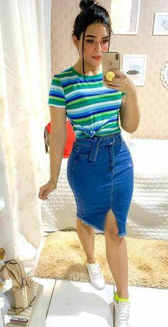 64e084fcec Waist Skirt, High Waisted Skirt, Denim Skirt, Looks, Denim Skirts, Skirts