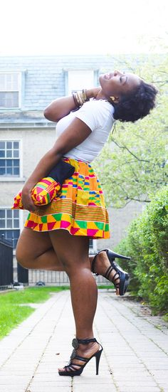 African Print Skirt and White Tee
