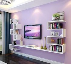 Impressive TV Wall Units and Display Shelves – Decor Inspirator – Typical Miracle Wall Unit Designs, Living Room Tv Unit Designs, Living Room Wall Units, Tv Wall Design, Living Room Shelves, Tv Unit Decor, Tv Wall Decor, Simple False Ceiling Design, Tv Wanddekor