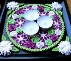 quilled flowers around tea lights - by: Ayani art