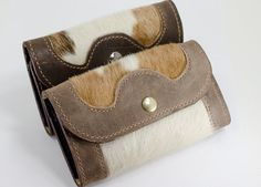 Brown Women's Cow Hair Leather Wallet, Cow Hair Western Wallet on Etsy, $40.00