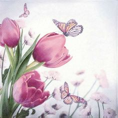 4x Single Table Paper Napkins for Party Decoupage Decopatch Butterfly Tulips  #Decoupage
