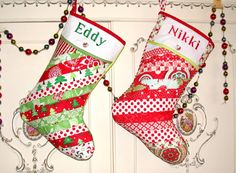 """Personalized Christmas Stocking Chair Back- Bedpost Patchwork -Quilted 15"""" by Bagzgirl on Etsy"""