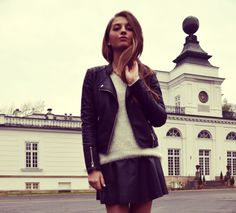 Leather Skirt, Leather Jacket, Style Watch, Fall Looks, Moto Jacket, Fashion Watches, Get Dressed, Hair And Nails, Cool Outfits