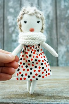 Cloth doll Rag doll minihandmade retro one of by lespetitesmainsS