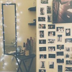 Photo wall. I wanna do this to my door once i print out pics of me and my friends over the years