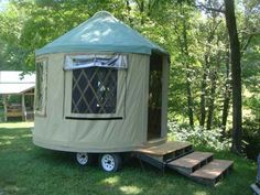 Portable camping yurt on wheels. I'm not sure if this is a trailer, a wagon, or something else, but it is cute!