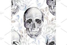 Watercolor Pattern With Skull. Watercolor Flowers