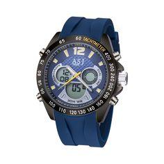 High Quality ASJ Brand Blue band Multifunction Quartz Alarm Men Watch Digital LED Date Sports Waterproof Wrist Watch for Men
