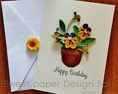 paper quilling panji flower Spring card