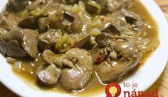 "Sauteed Chicken Livers with Lechon ""Gravy""… Onion Recipes, Egg Recipes, Great Recipes, Dog Food Recipes, Cooking Recipes, Filipino Dishes, Filipino Recipes, Green Mango Salad, Liver Recipes"