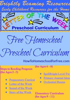 Free Homeschool Preschool and Elementary Curriculum: Brightly Beaming Resources