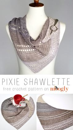 The Pixie Shawlette is a light and lively free crochet shawl pattern on Moogly that uses just one ball of Red Heart Croquette - and is full of sparkle! # one skein crochet shawl Pixie Shawlette - Free One Skein Crochet Pattern on Moogly Poncho Au Crochet, One Skein Crochet, Crochet Shawls And Wraps, Crochet Motifs, Crochet Scarves, Crochet Cowls, Moogly Crochet, Crochet Patterns For Scarves, Crochet Triangle Scarf
