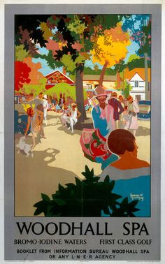 Poster produced for the London North Eastern Railway to promote .rail travel to Woodhall Spa Lincolnshire The poster shows holidaymakers Posters Uk, Railway Posters, Train Posters, Fine Art Prints, Framed Prints, Canvas Prints, Retro, National Railway Museum, Vintage Travel Posters