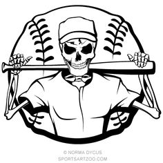 Illustration about Black and white vector illustration of a skeleton baseball player with a bat over his shoulder and a baseball behind him. Illustration of batter, vector, skull - 33916669 Baseball Batter, Baseball Mom, Softball, Baseball Tips, Sports Signs, Sports Art, Sports Teams, Halloween Skeletons, Halloween Themes