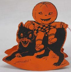 Vintage HALLOWEEN Place Card JOL Boy Riding on Black Cat 1920s NICE!