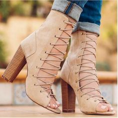 2d01d22a83f New Brand Design Fashion Women Suede Lace Up High Heel Boots Thick Square  Heel Open Toe Lace Up Strappy Ankle Motorcycle Boots-in Ankle Boots from  Shoes on ...