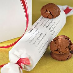 I love giving cookies!! Write recipe on paper, roll up, tie with a sweet little ribbon :)