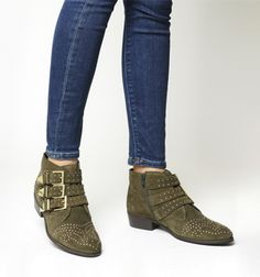 Office, Lucky Charm Studded Boots, Khaki Suede