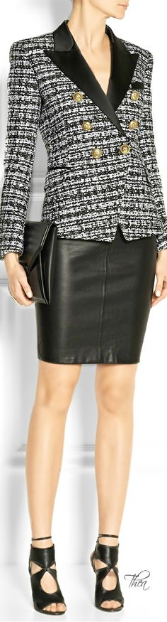 Love the leather skirt. I would add an inch or two on it, over all this is a great outfit for work. Balmain ~ Tнεα