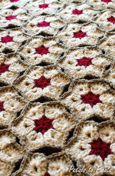 White Hibiscus Hexagon Afghan