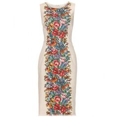 Dolce & Gabbana Floral Print Linen Dress (11.877.010 IDR) ❤ liked on Polyvore featuring dresses, stampa, dolce gabbana dress, floral day dress, zip dress, fringe dress and botanical dress