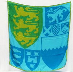 "HERALDIC  Vera Neumann Ladybug handrolled SILK SCARF 26"" x 26.5"" Blue green lions dragons coat of arms scarf"