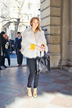 Skinny denim balances a voluminous topper #streetstyle