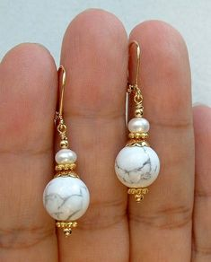 Dangle White Howlite Turquoise W. White Fwp Gold Earrings -- Leverbacks 0212