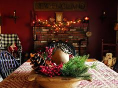 A New England room decorated for Christmas
