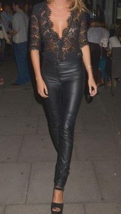 Leather..love entire outfit & look.