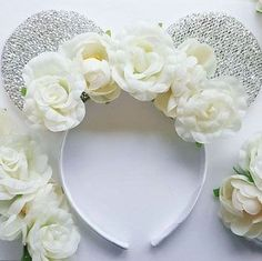 FLORAL MINNIE MOUSE EARS BRIDE TO BE DISNEY HEN PARTY SUMMER MINNIE EARS BOHO