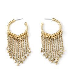 A delicate matte gold hoop is finished with fine chains and dainty beads in our Veil earrings.