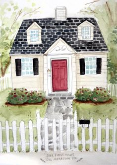 Custom House Portrait Illustration - Original Home Watercolor