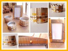 Porta velas con latas de atun, pinzas de ropa, o maderitas que tengas por casa, y el marco de fotos decorado con las mismas cintas decorativas para que vaya a juego .../ DIY By Luz Arias...