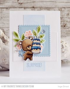 Beary Special Birthday Stamp Set and Die-namics, Flashy Florals Stamp Set and Die-namics, Mini Scallop Square STAX Die-namics, Stitched Rectangle STAX Die-namics - Inge Groot  #mftstamps